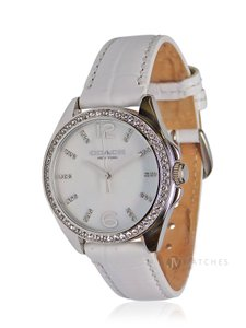 Coach BRAND NEW WOMENS COACH (14502107) TRISTEN WHITE CRYSTAL LEATHER WATCH