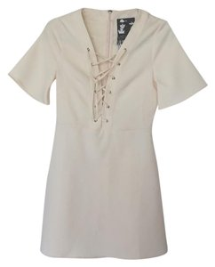 Young Fabulous & Broke short dress Cream Short Sleeves Ties Invisible Zipper on Tradesy