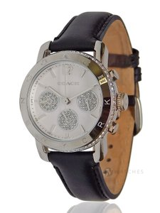 Coach NEW WOMENS COACH (14501972) LEGACY SILVER BLACK LEATHER GLITZ WATCH