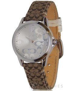 Coach NEW WOMENS COACH (14501620) CLASSIC SIGNATURE LOGO BROWN LEATHER WATCH