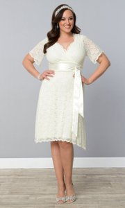 Kiyonna Lace Vintage Pearl A-line Stretchy Dress