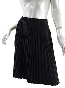 Chanel Wool Knit Pleated 07a Skirt Black