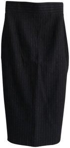 Brooks Brothers Black Fleece Wool High Waisted Fall Thom Skirt Navy