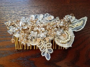 Tessa Kim Handmade Gold Lace Bridal Headpiece Comb W/crystal