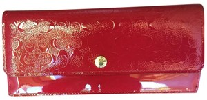 Coach Red Soft Leather Embossed Wallet