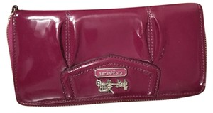 Coach Purple Patent Leather Coach Wallet with Zipper