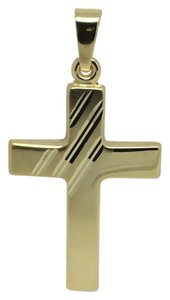 Other 14K Yellow Gold Reversible Line Texture Cross Pendant