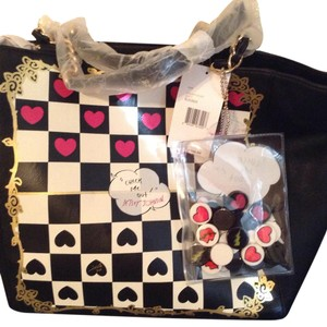 Betsey Johnson Tote in Black, White , pink and white