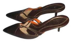 Cole Haan Leather Classic Style Silver Buckles Leather Lined Brown Mules