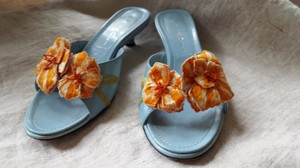 Casadei Orange Beaded Low Heel Italian Turquoise Sandals