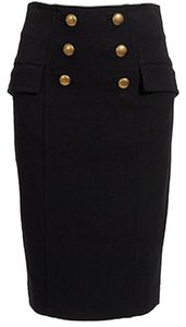 Diane von Furstenberg Button Detail Pencil Skirt Black
