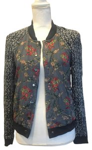 Free People Casual Mixed Print Navy/Red/Green Jacket