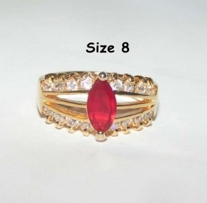 Red Zircon Fashion Ring Free Shipping
