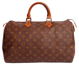 Louis Vuitton Monogram Speedy Leather Totes Satchel in Brown