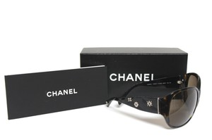 Chanel Chanel Logo Rhinestone Quilted Women's Oval Sunglasses