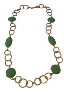 "Kenneth Jay Lane 36"" Circle Link Synthetic Jade Station Necklace"