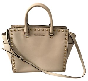 Michael Kors Studded Saffiano Tote in White