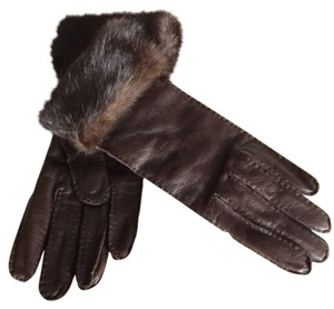 Prada Prada Lambskin Leather Gloves w/ Mink Fur Trim