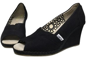 TOMS Black Wedges