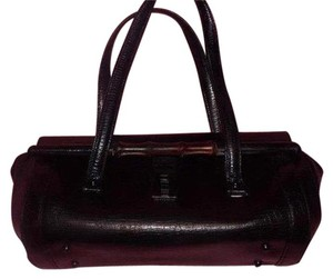 Gucci Xl 'bullet' Bamboo Accents Two Strap Excellent Vintage Great Everyday Satchel in black textured leather