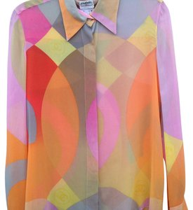 Chanel Button Down Shirt Orange, yellow, pink, taupe, brown, grey, and tangerine
