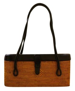 Elliott Lucca Straw Leather Shoulder Bag