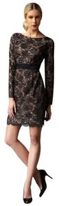 Trina Turk Silk Longsleeve Lace Satin Dress