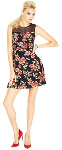 Florenza short dress Floral Black /Red on Tradesy