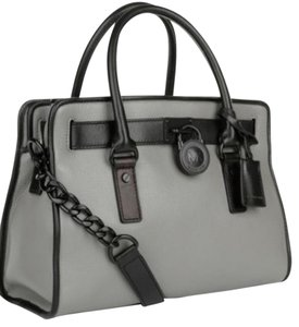 Michael Kors French Binding Leather Hamilton Satchel in Steel Grey / Black