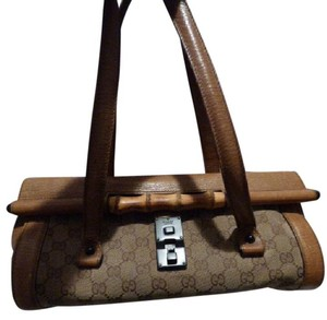 Gucci Xl 'bullet' Bamboo Accents Two Strap Excellent Vintage Great Everyday Satchel in camel textured leather and large G logo print canvas