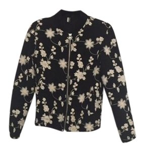 Topshop Bomber Patterned Black and white Jacket
