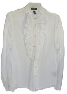 Lauren Ralph Lauren Cotton Button Down Button Down Shirt WHITE