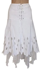 Anthropologie Hazel Cut Out Uneven Skirt WHITE