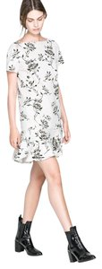 Zara short dress White/Ivory Floral Winter Mini on Tradesy