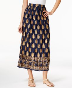 NY Collection Maxi Skirt Navy/Gold