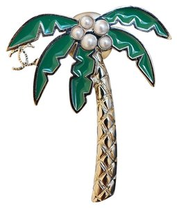 Chanel Chanel Cuba Cruise 2017 Runway Gold Metal Coconut Tree Brooch Pin