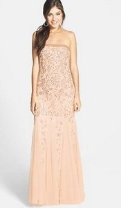 Adrianna Papell Champagne Adrianna Papell Beaded Strapless Godet Gown Dress