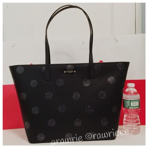 Kate Spade Oversized Large Zip Top Shimmery Multifunction Tote in Black