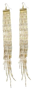 South Moon Under Gold Bead Fringe Earrings