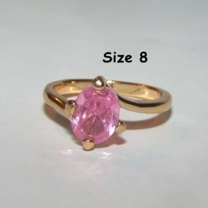 Yellow Gold Bogo Free Pink Topaz Solitaire Free Shipping Ring