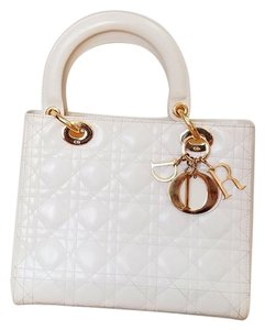 Dior Christian Cannage Tote in Off White