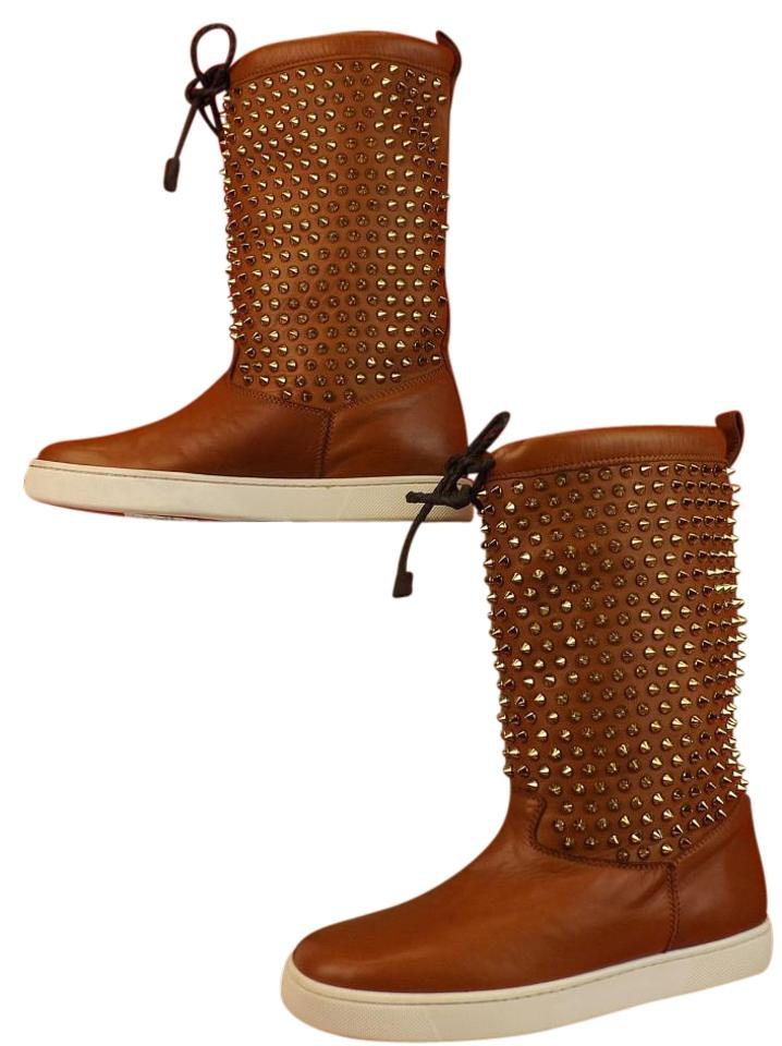 de8934c7cbc0 Christian Louboutin Chataigne Bronze Surlapony Flat Brown Leather Gold  Spikes Shearling 38.5 Boots Booties