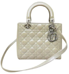 Dior Medium Lady Vernis Satchel in gray