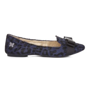 Butterfly Twist Chic Stylish Leopard Print Navy Pony Hair Navy/Black Flats