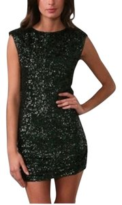Alice + Olivia Sequin Keyhole Mini Cocktail Party Dress