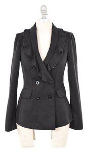 White House | Black Market Double-breasted Ruffle Neck Fancy Black Blazer