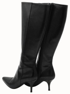 Cole Haan Knee High Boot Zipper Leather Black Boots
