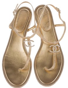 Chanel Gold Hardware Interlocking Cc Gold, Black Sandals