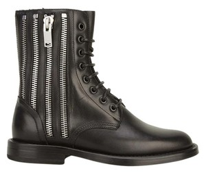 Saint Laurent Punk Military Zippers Combat Black Boots
