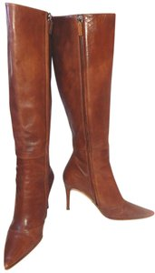 Gucci Pointed Toe Knee High Leather Cognac Brown Boots